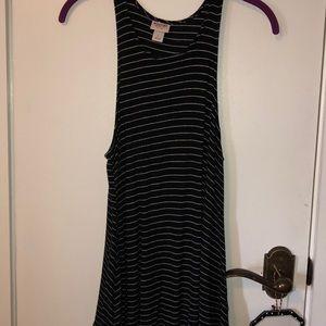 Mossimo black/white striped tank dress size Lg.